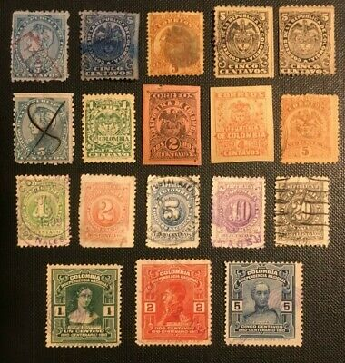 Colombia Collection Of Old Stamps, 3 Pics