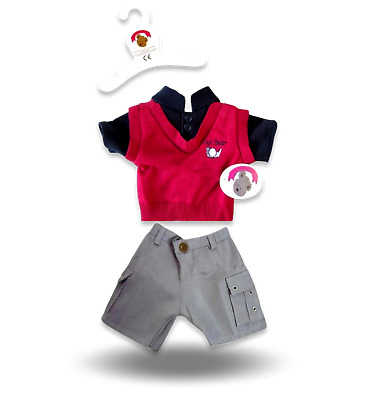 Teddy Bear Clothes fit Build a Bear Teddies Red Black and Grey Casual Boy Outfit