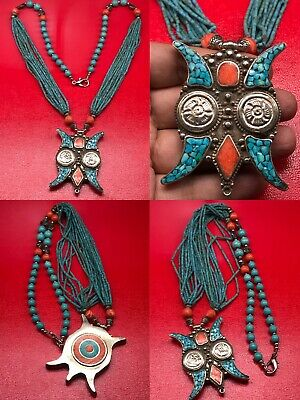 Lovely Turquoise coral Stone Silver Beads Unique wonderful necklace
