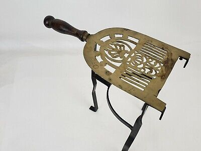 Vintage Brass Fireplace Kettle Trivet Stand Wrought Iron Base