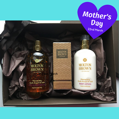 MOLTON BROWN Gift Set Oudh Accord Gold Bath Shower Gel Body Lotion EDT