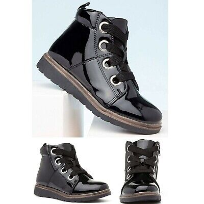 New Kids Girls Ankle Boots Slip On Flat Zip Lace Up Black Patent School Shoes
