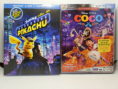 Pokémon: Detective Pikachu + Coco (Blu-ray + DVD + Digital Copy + SLIP COVERS)