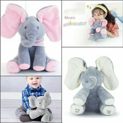 2019 Peek-a-boo Elephant Baby Plush Toy Singing Stuffed Animated Kids Baby Doll
