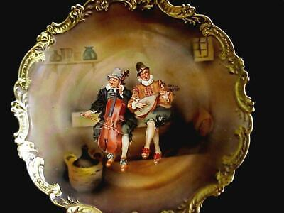 Antique Royal Bayreuth Bavaria Tapestry Plate Musicans Playing Cello Mandolin