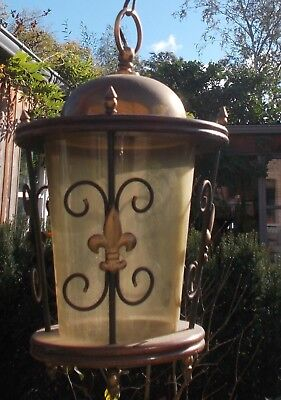 Antique French Brass  Lantern Chandelier Amber Glass Fleur - de - Lis