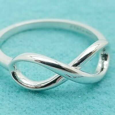Tiffany & Co. 925 Sterling Silver Infinity Band Ring Size 6 with Pouch