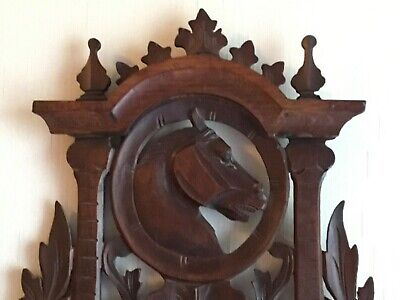 Antique 19th Century French Wooden Hand Carved Wall Shelf Horse Normandy France