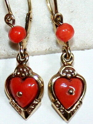 CORAL SALMON ANTIQUE VICTORIAN 9K GOLD HEART LOVE SMALL DANGLE EARRINGS c 1900