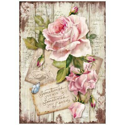 DFSA4254 Sweet Time Rose Stamperia Rice Paper A4 Decoupage Mixed media