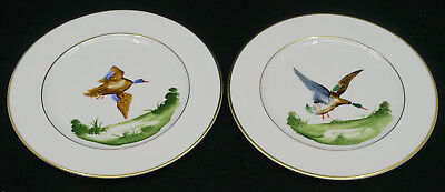 2 Vintage Kirk China Plates With Hand Painted Ducks In Flight