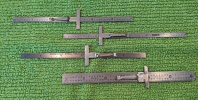 Lot of 4 Machinist rulers w/Pen Clips