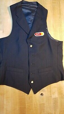 A&P Grocery Store Assistant Managers Vest. Blue. 70s/80s With Lapel
