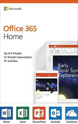 Microsoft Office 365 Home 2019 6 Users 1-Year Subscription (PC or Mac) License