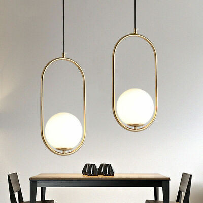 Nordic Style Mini Glass Globe Gold Brass Oval Shade LED Indoor Pendant Lights