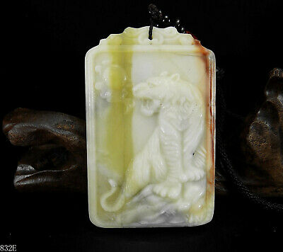 100% Natural Hand-carved Chinese Jade Pendant jadeite Necklace tiger&moon 832e