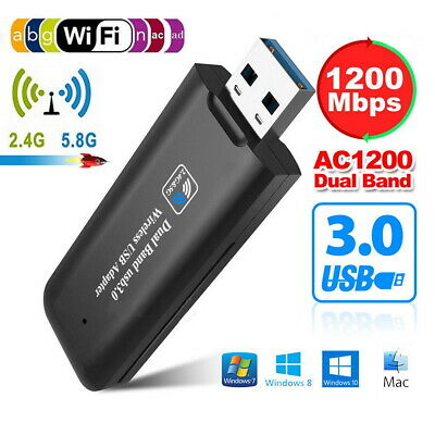 WiFi Network Receiver Adapter 1200Mbps USB 3.0 Wireless 5GHz Dual Band Dongle