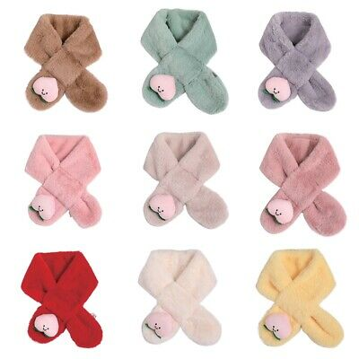 Kids Baby Faux Fur Winter Warmer Peach Pattern Scarf Boys Girls Collar Scarves