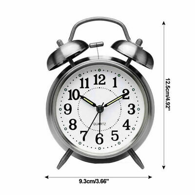NEW Retro Loud Double Bell Mechanical Key Wound Alarm Clock Kid Teens Room Gift