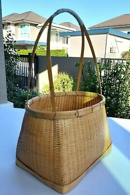 Thai Oval Bamboo basket with handle containing fruits vegetables food gifts 1pc