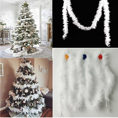 5PCS 2M Christmas White Feather Ribbon Xmas Tree Boa Strip Garland Party Decor