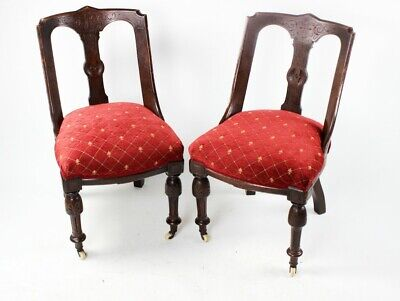 A Pair of Victorian Mahogany Spoon Back Chairs - FREE Shipping [5709]