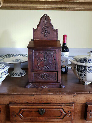 """Antique French Country Kitchen Salt Box Cabinet Hand Carved Wood 17"""" Tall"""