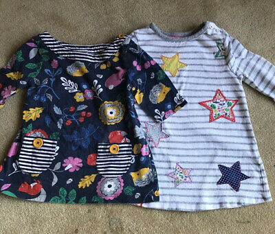 2 Girls Mini Boden Age 2-3years Star & Hedgehog Woodland Tunic Style Dresses