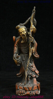 """14""""Old China Copper Gilt Fengshui Happy Return Fully Loaded Old Fisherman Statue"""