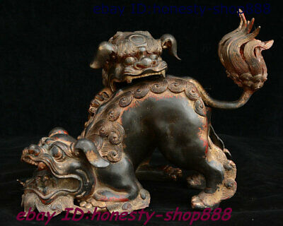 Rare China Tibet Bronze Fengshui Foo Fu Dog Guardion Lion Incense Burner Censer