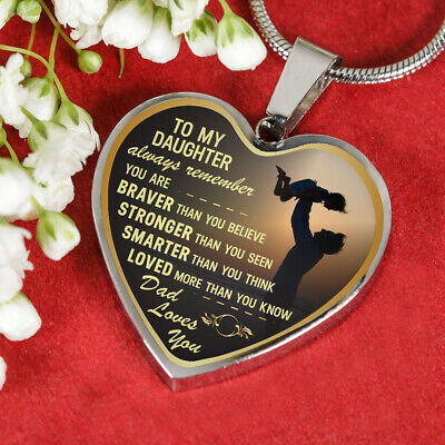 Silver//18k Gold Finish Child Always Remember Quotes for Teen Girl Papa Love You Heart Pendant from Father iGifts to My Daughter Necklaces
