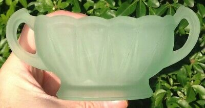 1930s Art Deco Bagley Frosted Green Glass Small Evesham Posy or Mantlepiece Vase