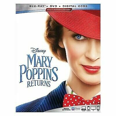 MARY POPPINS RETURNS BLU-RAY + DVD + DIGITAL With SLIPCOVER New