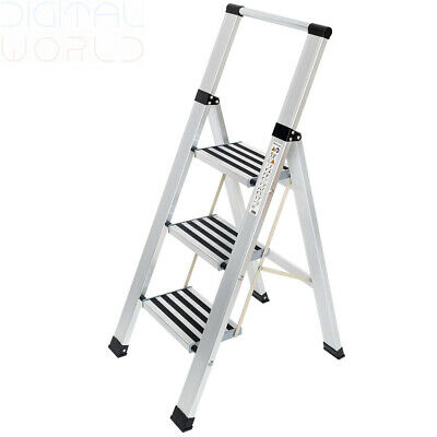Tatkraft Adamant Aluminium 3 Step Folding Ladder, Anti-Slip Steps and Feet,...