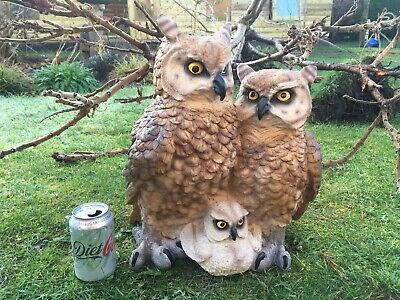 Large Life Size Family Of Owls Owl Statue Garden/Indoor Use Patio/Lawn Ornament