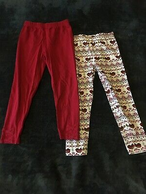 Sainburys TU girls Christmas Red/Bow/Robin Leggings - 3-4 YEARS  - Exc Cond.