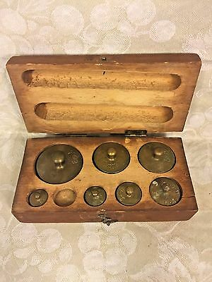 7 Antique Larger Brass Weights 1 Missing in Wood Case