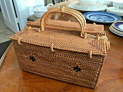 Vintage Salish Native American Indian Hand Weaved Purse Basket Very Rare