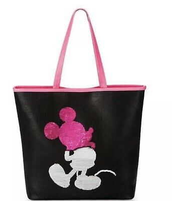 Disney Parks Mickey Mouse Imagination Pink Reversible Sequin Tote by Loungefly