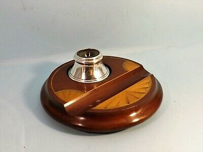Antique Edwardian  ~ Hallmarked Silver And Inlaid Mahogany Inkstand
