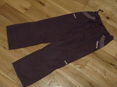 9 Years Girl's Brown Wide Leg Fully Lined Embroided 100% Cotton Trousers by NEXT