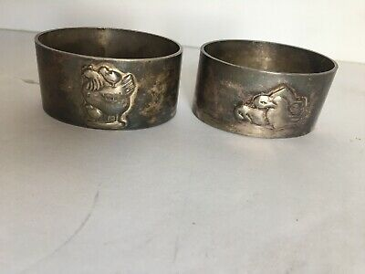 2 Antique Cohr danish silver Plated Hen with Chicks & Ducks napkin rings