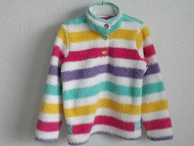 Joules girls cotton blend long sleeve striped fleece polo jacket size 8 years