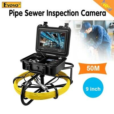 "Eyoyo 50M Cable Drain Video Pipeline Endoscope Camera 9"" LCD 1000TVL Waterproof"