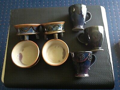 JACQUELINE JOOSEN '97. 4x THREE FOOTED BOWLS & 3x MUGS. ALL UNIQUE / DIFFERENT.