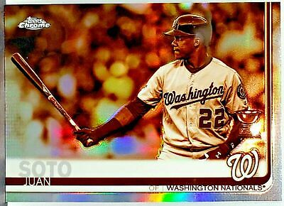 Hot 🔥 Juan Soto Rookie Trophy Sepia Refractor 2019 Topps Chrome #155 Nationals