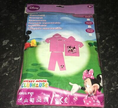 Minnie Mouse Clubhouse Disney Pink Waterproof Rain Suit Set Age 7-8 FREE POST
