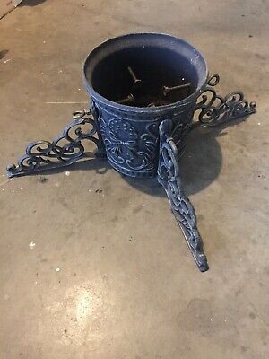 Vintage Cast Iron Ornate Christmas Tree Stand Heavy And Solid Victorian Old LRG.