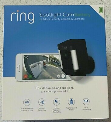 Ring Spotlight Cam Battery Black Outdoor Security Camera - NEW 2 Day Ship!