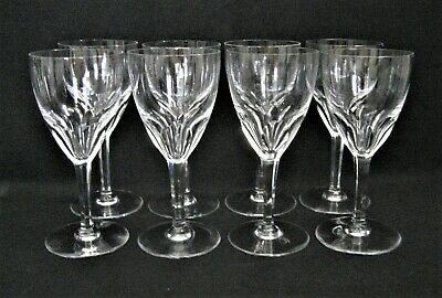 "BACCARAT France Clear Crystal  GENOVA  8- TALL WATER GOBLETS Glasses 7 3/8"" Tall"